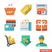 Compras plana Icon Set