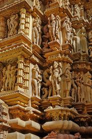 stock photo of kandariya mahadeva temple  - Sculptures of Kandariya Mahadeva Temple - JPG