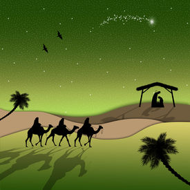 picture of magi  - an illustration of Nativity scene with Magi on camels - JPG