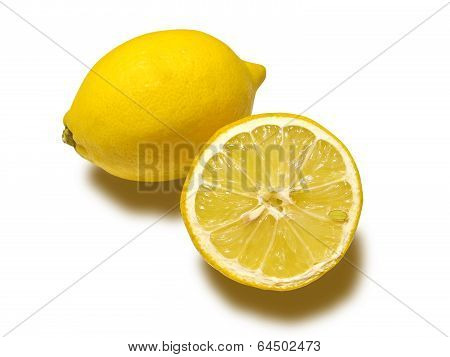 A lemon and a half isolated in white background with clipping path