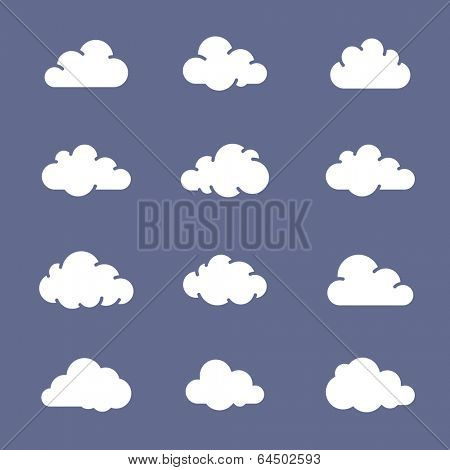 Cloud shape icon collection. 12 white clouds on blue background. Simplus series