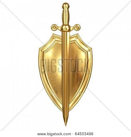 Shield and sword made of Gold
