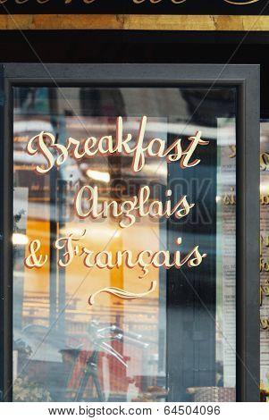 Cafe Sign In Paris