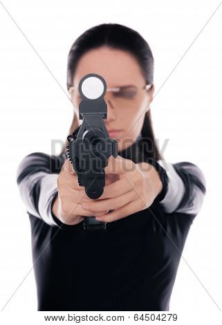 Woman Spy Aiming Gun