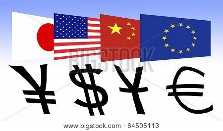 Flag Of Japan, The U.s., China And Europe