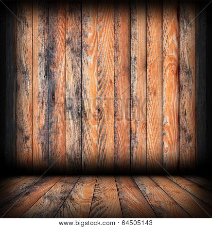 Weathered  Brown  Planks On Interior Backdrop