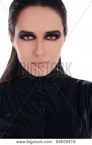 Woman in Black Leather Suit