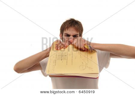 Angry Young Man Ripping Trying To Papers