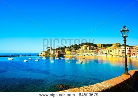 Sestri Levante, Silence Bay Sea Harbor, Street Lamp And Beach View. Liguria, Italy