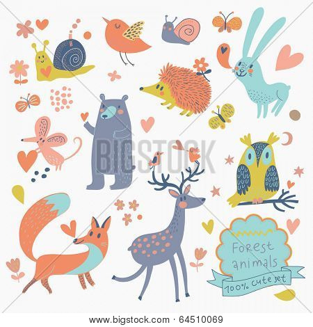 Vector set of cute wild animals in the forest: fox, bear, hedgehog, rabbit, snail, deer, owl, bird, mouse. Vintage set in cute colors