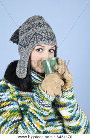 Beauty Teen Girl Drinking Tea