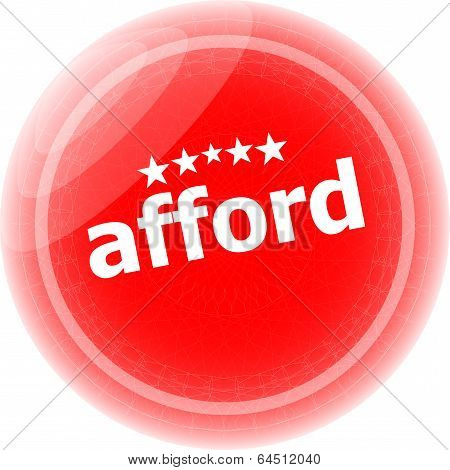 Afford Word Red Stickers, Icon Button Isolated On White