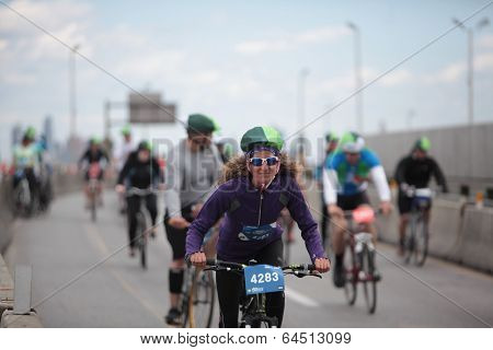 Female rider in TB color hat cover