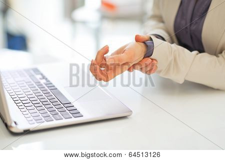Closeup On Business Woman With Wrist Pain