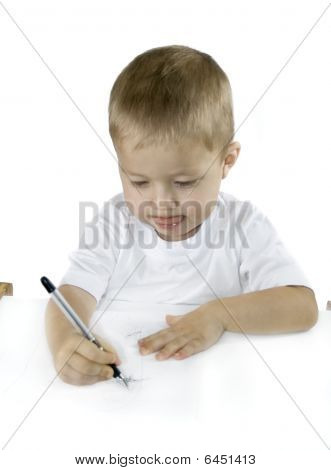 Small Boy Is Drawing Isolated On White