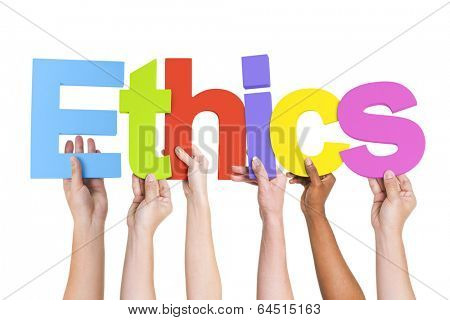Diverse Hands Holding The Word Ethics