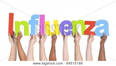 Diverse Hands Holding The Word Influenza