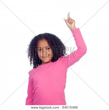 African little girl asking to speak with her hand isolated on a white background