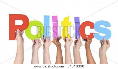 Diverse Hands Holding The Word Politics