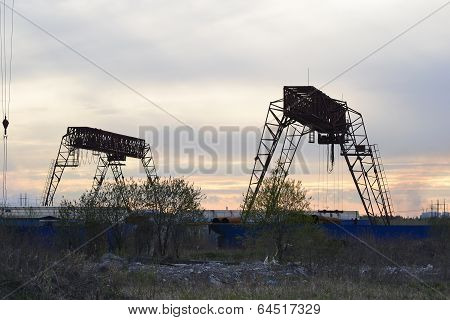 Cargo Cranes At Sunset