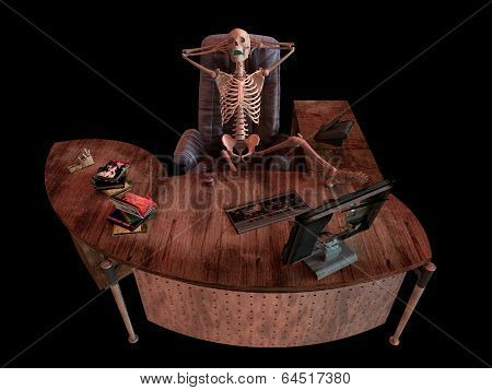 sitting skeleton in office interior concept illustration
