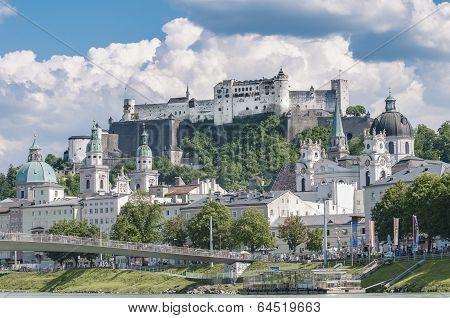 Salzburg Fortress (festung Hohensalzburg) Seen From Salzach Rive