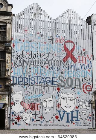 Aids And Hiv Prevention Mural In Brussels, Belgium.