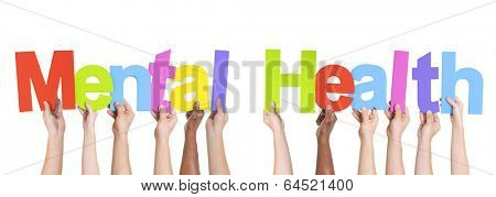 Diverse Hands Holding The Words Mental Health