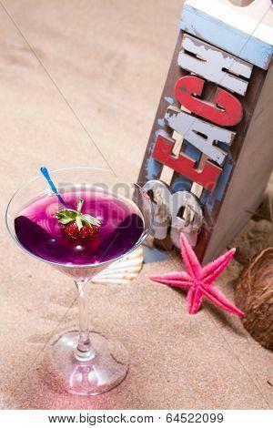Fresh tropical cocktail on the beach - molecular mixology