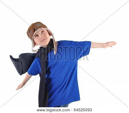 Boy Pilot Flying On White Background