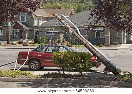 Car And Power Pole