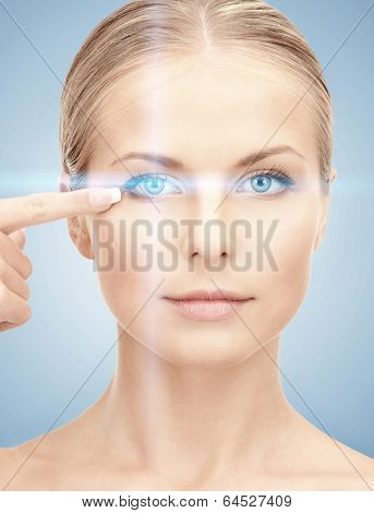 health, vision, sight, future technology concept - woman eye with laser correction frame