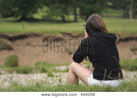 Woman Birdwatching