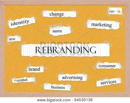 Rebranding Corkboard Word Concept