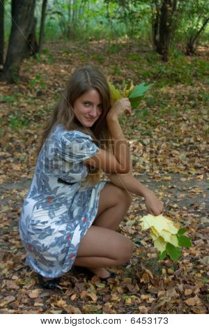 Young Pretty Woman In The Autumn Park