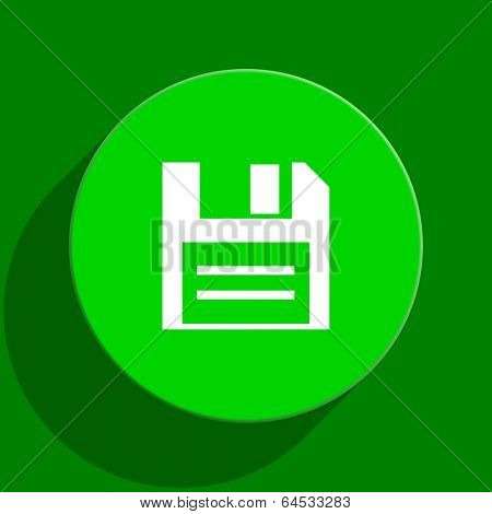 disk green flat icon