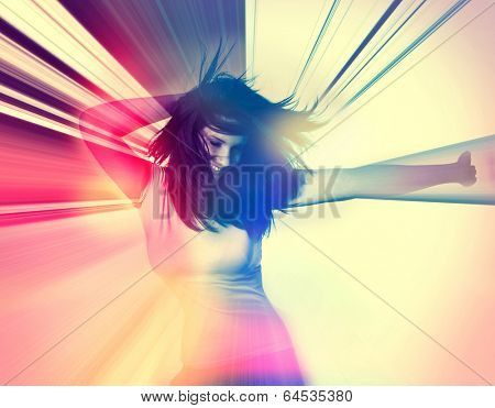 arty poster picture of dancing girl in retro style