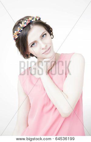 Young Beautiful Woman With Flower Wreath On Head