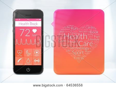 Health Book Application For Smartphone With Word Cloud Sticker