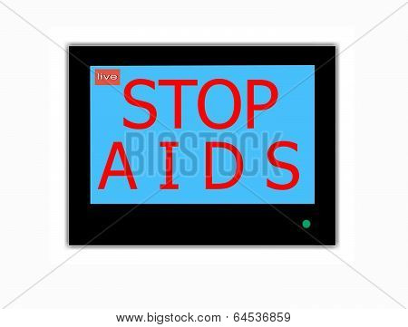 Slogan Stop Aids  On Television Screen