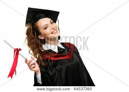 Happy graduated student girl with scroll isolated on white