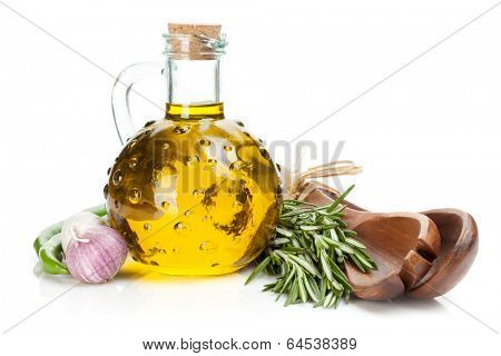 Spices, herbs and condiments. Isolated on white background