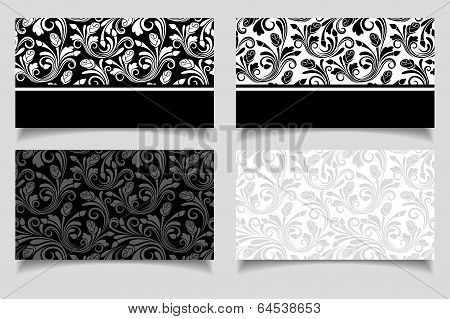 Business cards with floral patterns. Vector EPS-10.