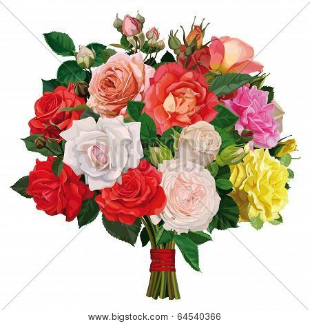bouquet of colored roses