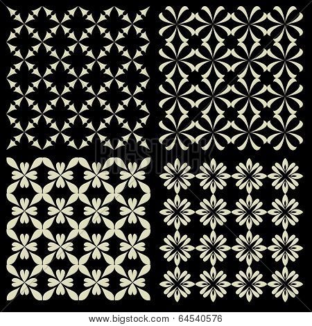 Seamless patterns with abstract decorative ornament. Vector illustration.