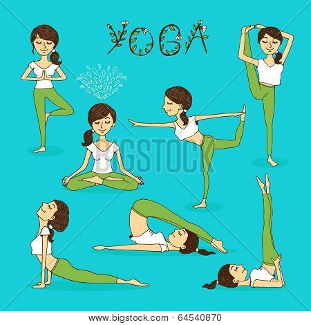 Vector hand-drawn yoga poses
