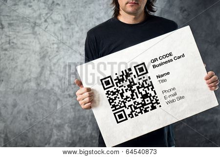 Man Holding Qr Code Business Card