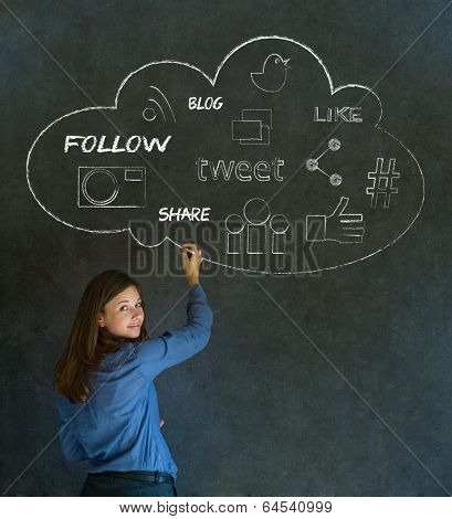 Businesswoman, Student Or Teacher Social Media