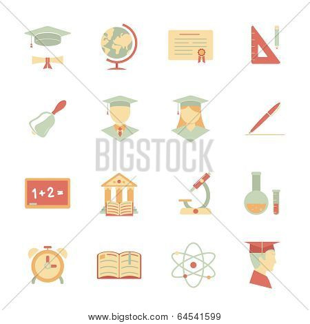Flat Internet education icons
