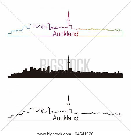 Auckland Skyline Linear Style With Rainbow